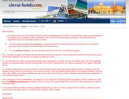 The message on the website announcing the insolvency.