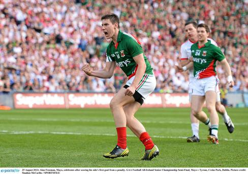 Alan Freeman, Mayo, celebrates after scoring his side's first from a penalty. GAA Football All-Ireland Senior Championship Semi-Final, Mayo v Tyrone, Croke Park, Dublin. Picture credit: Stephen McCarthy / SPORTSFILE