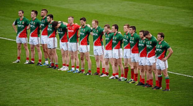 The Mayo team stand for the National Anthem