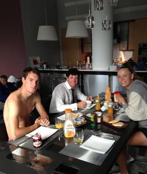 """Breakfast at the Wozniacki's! Overdressed, underdressed and not dressed at all!,"" the star captioned the photo."