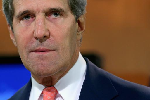 U.S. Secretary of State John Kerry delivers a statement about the use of chemical weapons in Syria at the Department of State