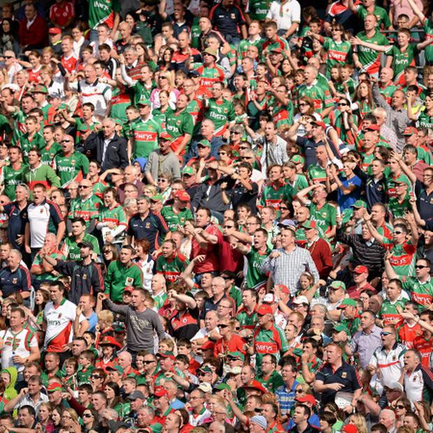 Mayo supporters react to a decision by referee Maurice Deegan at Croke Park. Picture: Brendan Moran/ Sportsfile.