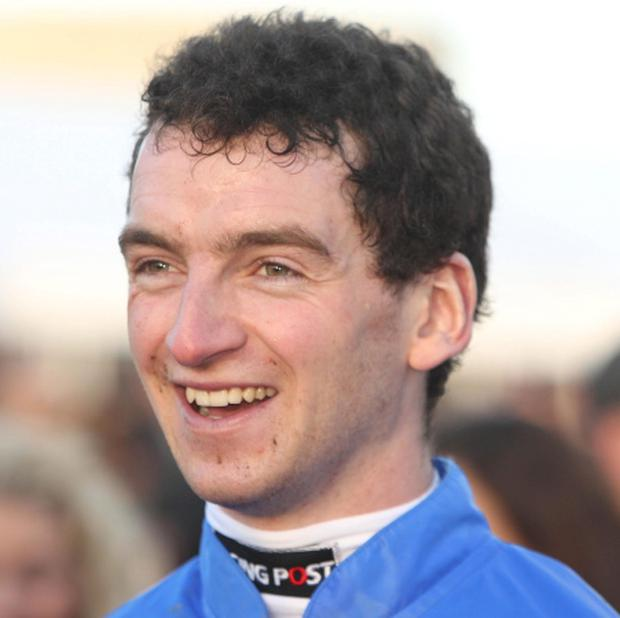 Patrick Mullins after winning the Grade 3 I.T.B.A Fillies Scheme European Breeders Fund Mares Hurdle on Zuzka. Picture: Niall Carson/PA Wire.