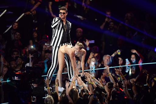 Miley Cyrus twerking during a performance with Robin Thicke at the VMAs