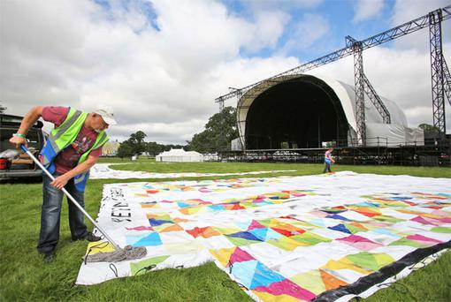 Staff preparing the main stage at this year's Electric Picinic