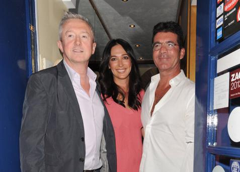 Louis Walsh, Lauren Silverman and Simon Cowell sighting at Scalini Restaurant, Chelsea