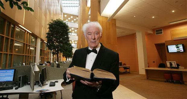 Seamus Heaney at the opening of Queen's University Belfast's McClay Library, July 6 2010.