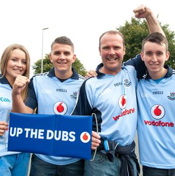 Pic Shows(L to R)Aisling, Niall, Brendan and Conor Murray. Re: Fans arriving at Croke Park ahead of todays All-Ireland football semi-final, Kerry v Dublin yesterday Sunday 01-09-2013. Pic: Collins Photos.