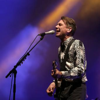 1/9/2013; Alex Kapranos, lead singer with Franz Ferdinand performs on the main stage at the last day of Electric picnic at Stradbally, Laois. Picture credit; Damien Eagers / Irish Independent