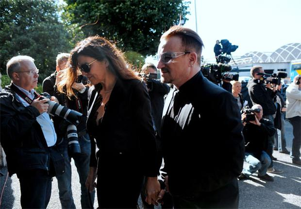 Ali Hewson and Bono attending Seamus Heaney's funeral in Donnybrook
