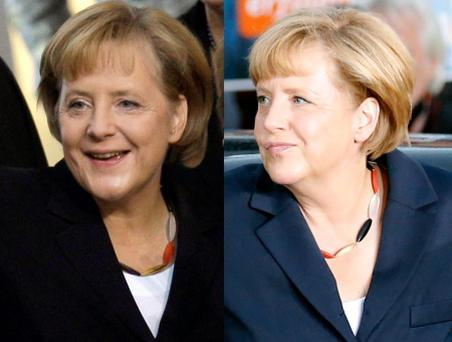 A combination of file pictures shows German Chancellor Angela Merkel, leader of Christian Democratic Union (CDU) wearing a necklace in the colours of the German flag as she arrives for a TV duel with her challenge REUTERS