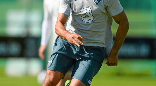 Republic of Ireland's Jonathan Walters in action during squad training ahead of their 2014 FIFA World Cup Qualifier Group C game against Sweden on Friday
