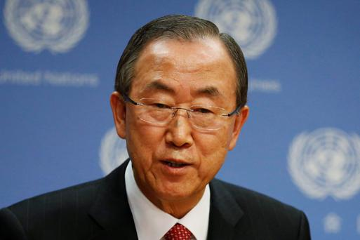 United Nations Secretary-General Ban Ki-moon speaks during a news conference at the U.N. Headquarters in New York, September 3, 2013