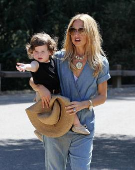 Rachel pictured with her toddler son Skylar.