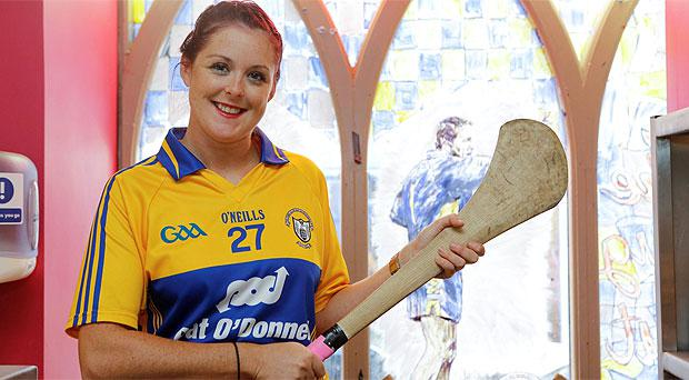 Clare fan Grace Russell pictured in Davy Fitzgerald Bar, the Dugout, in Ennis