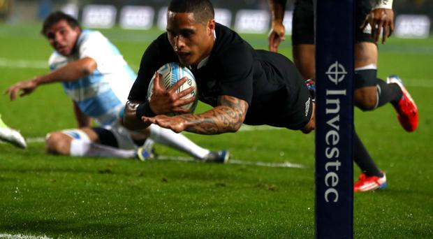 Aaron Smith dives over for his first try. (Photo by Phil Walter/Getty Images)