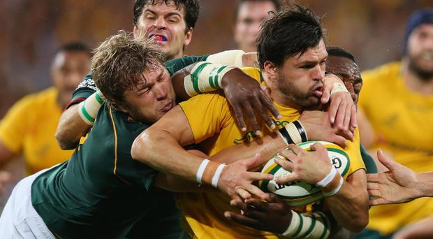Adam Ashley-Cooper is tackled during The Rugby Championship match between the Australian Wallabies and the South African Springboks at Suncorp Stadium in Brisbane, Australia. (Photo by Mark Kolbe/Getty Images)