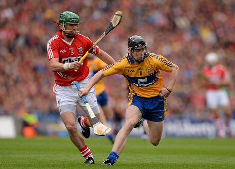 Tony Kelly, Clare, in action against Brian Murphy, Cork.