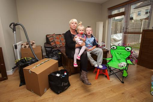 Stephanie Meehan with her children Cerys (2) & Oisin (7) at there home in Belmayne, Dublin. Photo: Gareth Chaney Collins