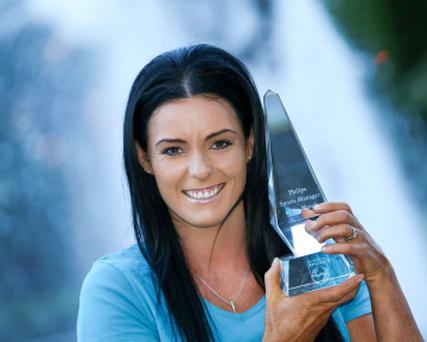 Marian Heffernan is pictured having received the Philips Sports Manager of the Month award for August