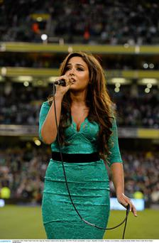 Model Nadia Forde sang the National Anthem before the Ireland-Sweden game in September.