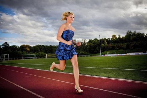 Julia Plecher from Germany who has made it into the Guinness Book of World Records for running the fastest 100 meters in high heals traveling the distance in just 14.531 seconds.