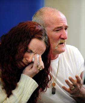 Mick Philpott and wife Mairead speak to the media at Derby Conference Centre, Derby after the blaze