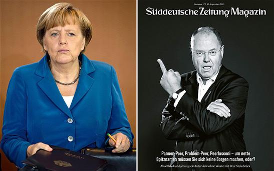 Angela Merkel, left, and Peer Steinbrueck on the controversial magazine cover