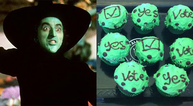 The 'Yes' cupcakes compared to the wicked witch of the west