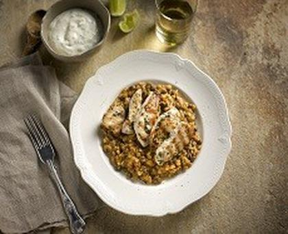Chargrilled Chicken with Lentil Dahl & Mint & Yoghurt