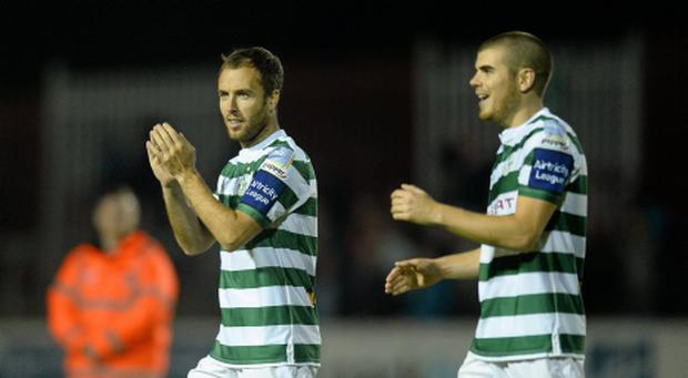 13 September 2013; Sean O'Connor, left, and Conor Powell, Shamrock Rovers, celebrate at the end of the game. FAI Ford Cup Quarter-Final, St Patricks Athletic v Shamrock Rovers, Richmond Park, Dublin. Picture credit: David Maher / SPORTSFILE