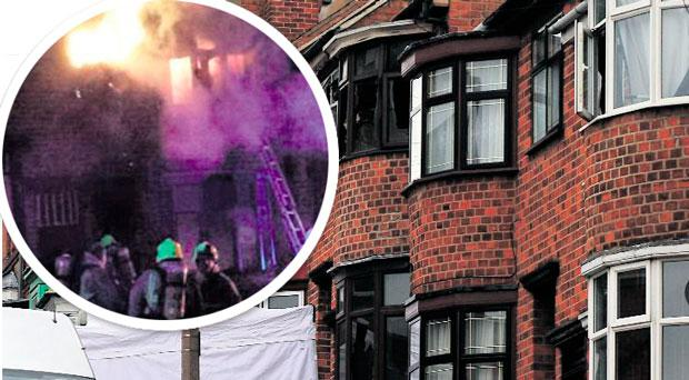 Firefighters tackle the blaze in Wood Hill, Leicester, that claimed the lives of four members of the same family