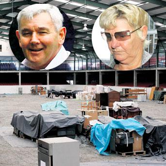 The run-down Jessbrook showjumping centre built by crime boss John Gilligan and his wife Geraldine (inset) has been in the hands of CAB for 16 years.