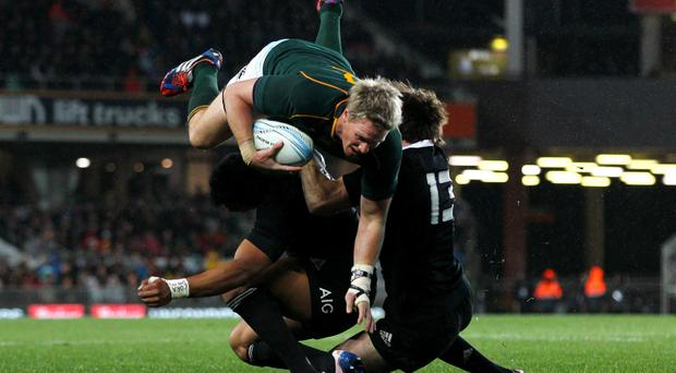 Jean de Villiers of South Africa charges over Julian Savea and Conrad Smith