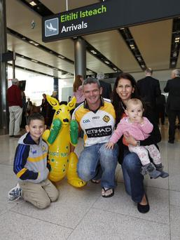 Damien Moroney, pictured with his fiance Natalie Lipman and their two children Aoife, age 10 months and Ciaran, age 6 years from theAustralianhurling team