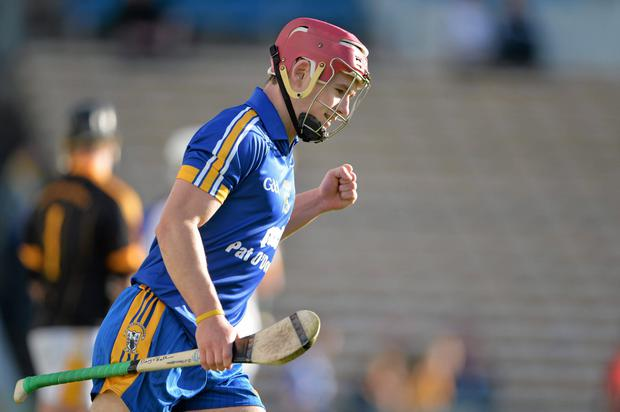 Davy O'Halloran, Clare, celebrates after scoring his side's first goal against Antrim