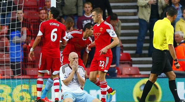 West Ham United's James Collins looks looks dejected as he rues a missed chance late on