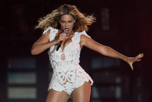 Beyonce performs on stage in Brazil.