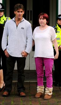 Paul and Coral Jones leaving Parish Council after attending an inquest into the death of their daughter April in Welshpool