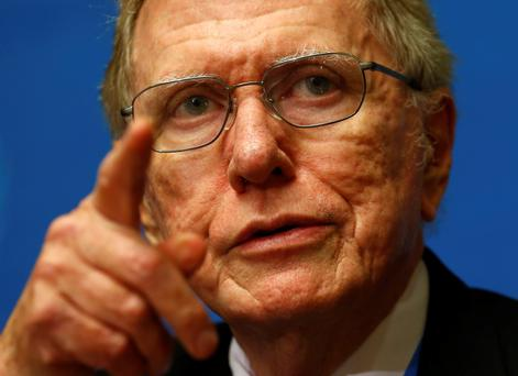 Michael Kirby, chairperson of the Commission of Inquiry on Human Rights in North Korea, during a news conference after delivering his report to the U.N. Human Rights Council at the United Nations European headquarters in Geneva