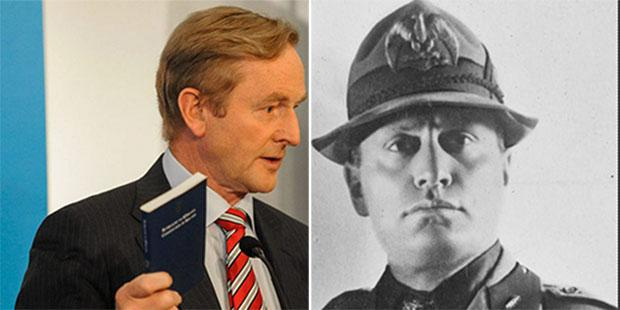 Taoiseach Enda Kenny (L) responds to FF comparison with Mussolini (R)