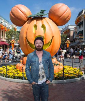 ANAHEIM, CA - SEPTEMBER 17: Actor Aaron Paul celebrates 'Halloween Time' at Disneyland September 17, 2013 in Anaheim, California. The 'Halloween Time' celebration at the Disneyland Resort, which features special attractions and entertainment, continues through October 31, 2013. (Paul Hiffmeyer/Disney Parks via Getty Images)
