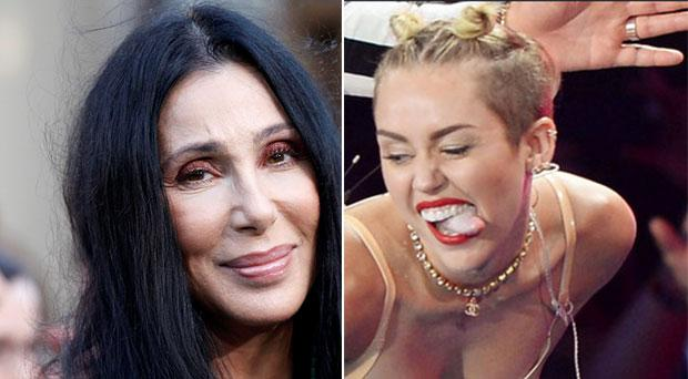 Cher's (L) advice to Miley (R): 'Chick, don't stick out your tongue if it's coated""