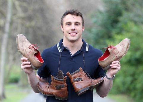 Tommy Bowe showing off his first shoe collection with Lloyd & Pryce