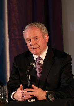 Northern Ireland Deputy First Minister Martin McGuinness speaks during the Tim Parry Johnathan Ball Foundation for Peace event at the Peace Centre in Warrington
