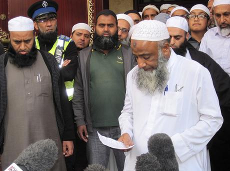 Muhammad Taufiq Al Sattar outside his local mosque in Leicester, speaking about the loss of his wife, daughter and teenage sons in a severe fire at their home in Wood Hill, Leicester