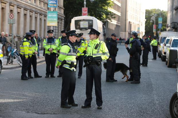 Gardai outside the Dail in Dublin on Wednesday night. Picture:Arthur Carron/Collins