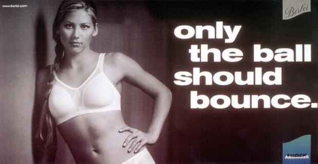 Photo showing an image from Berlei's advertisement campaign for the Shock Absorber sports bra, being promoted by tennis star Anna Kournikova.