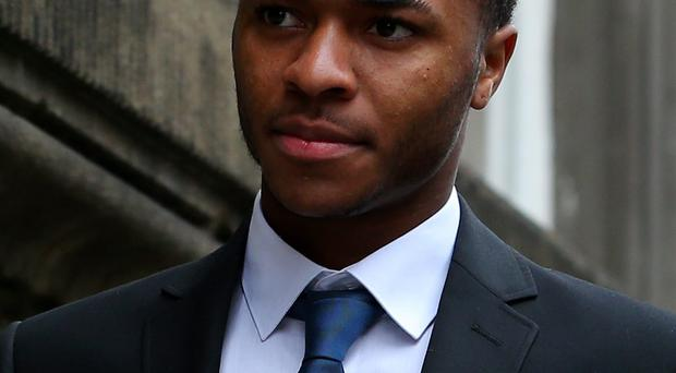 Liverpool and England footballer Raheem Sterling, 18, from Woolton, arrives at Liverpool Magistrates' Court