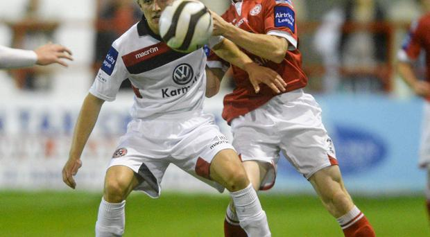 Keith Buckley, Bohemians, in action against Darren Tinnelly